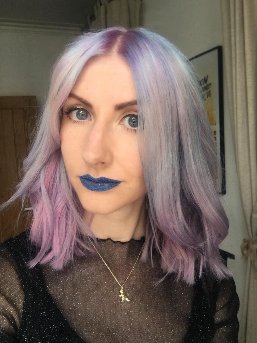 """""""Mermaid Galaxy"""" hair on bleach blonde hair."""