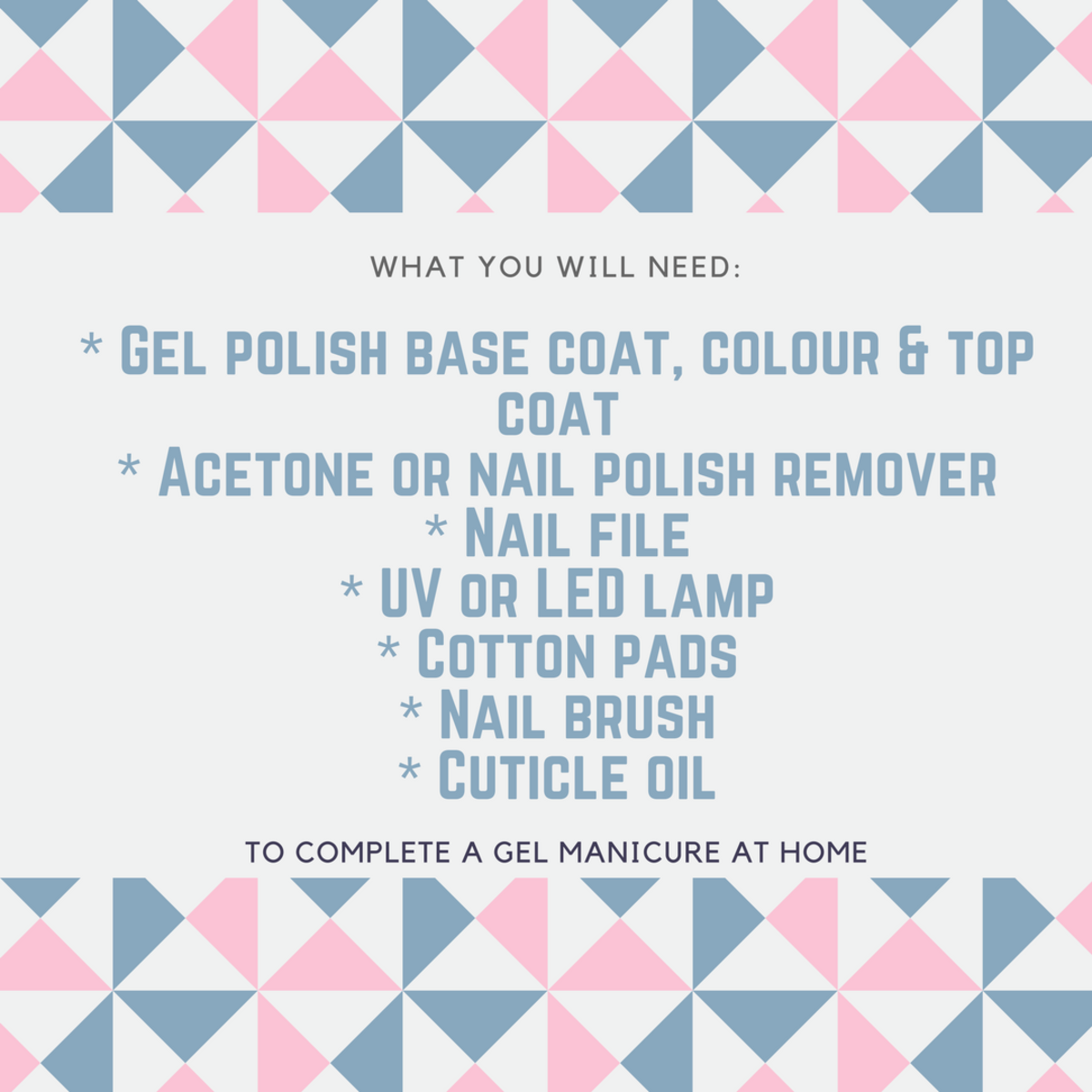 What you will need to complete a gel manicure at home.