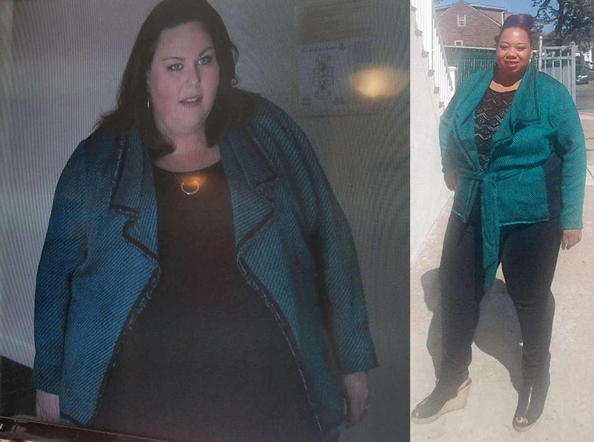 "Chrissy Metz wore this jacket in ""This is Us"". I was excited that I had the same exact jacket in my closet. The jacket is from Lane Bryant."