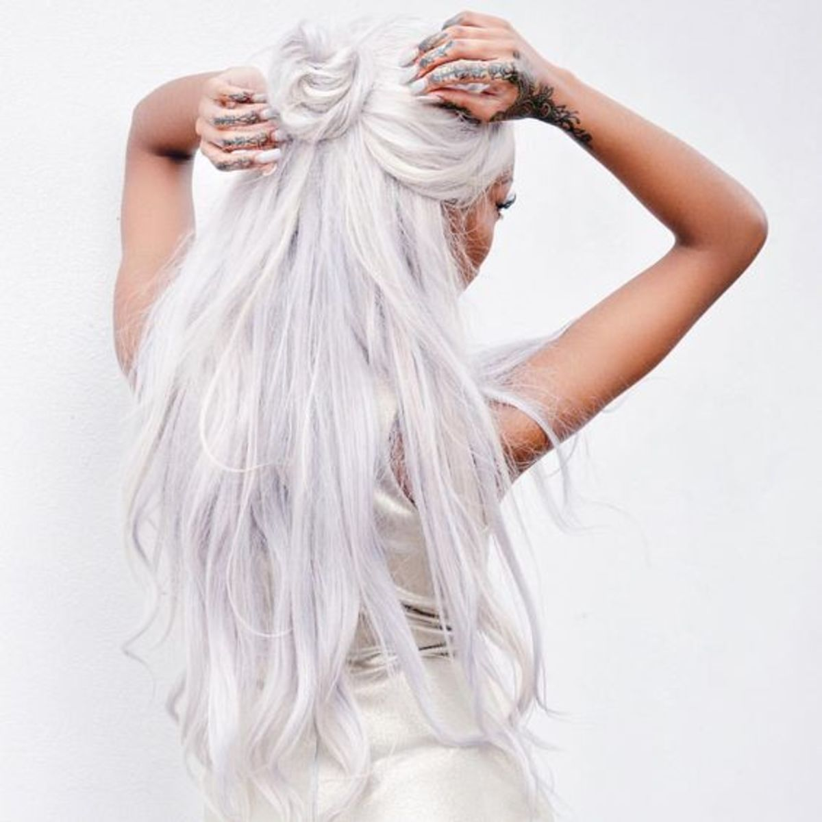 White hair is a unique and eye-catching look!