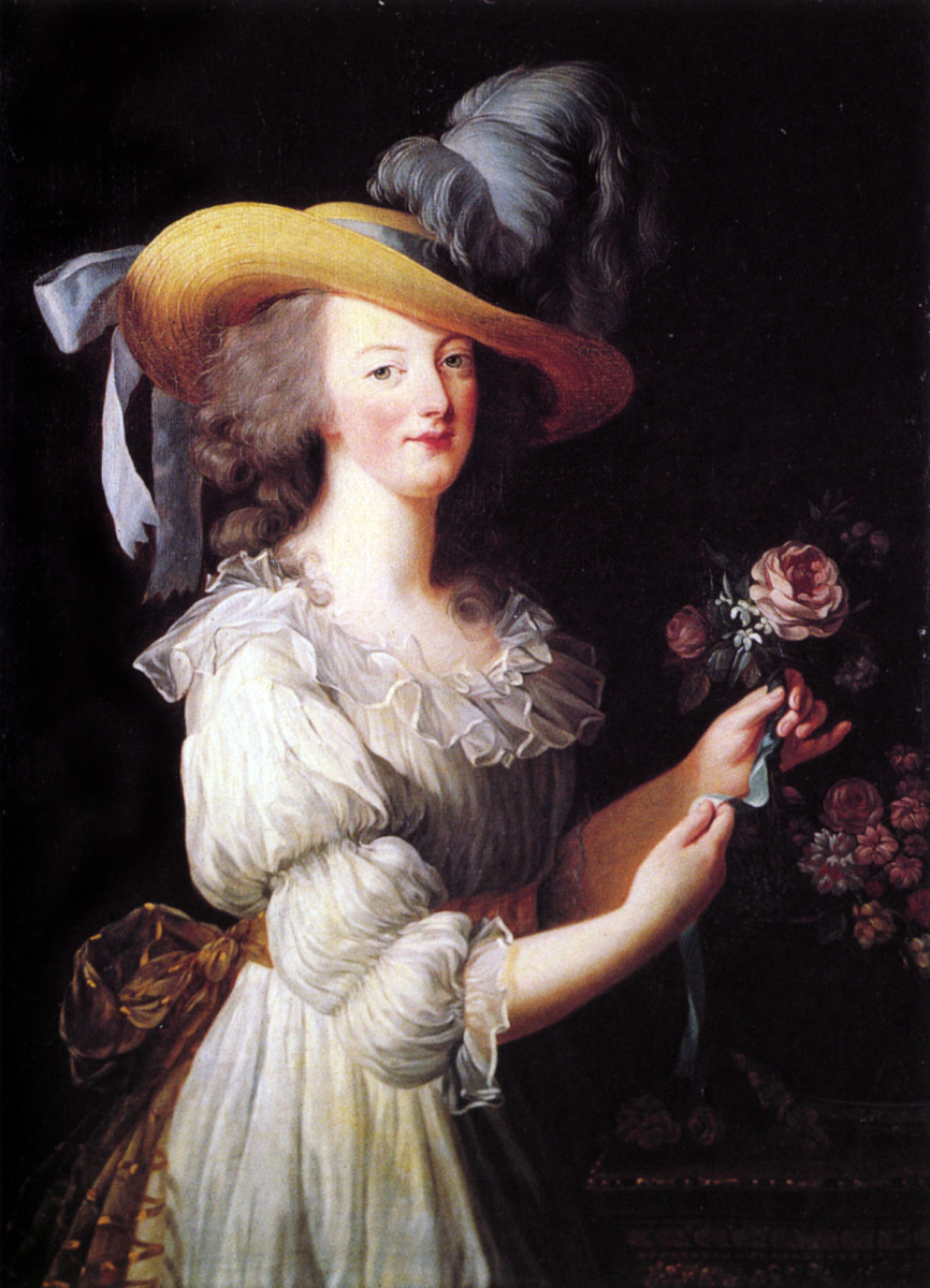 Marie Antoinette in a muslin pastoral style gown