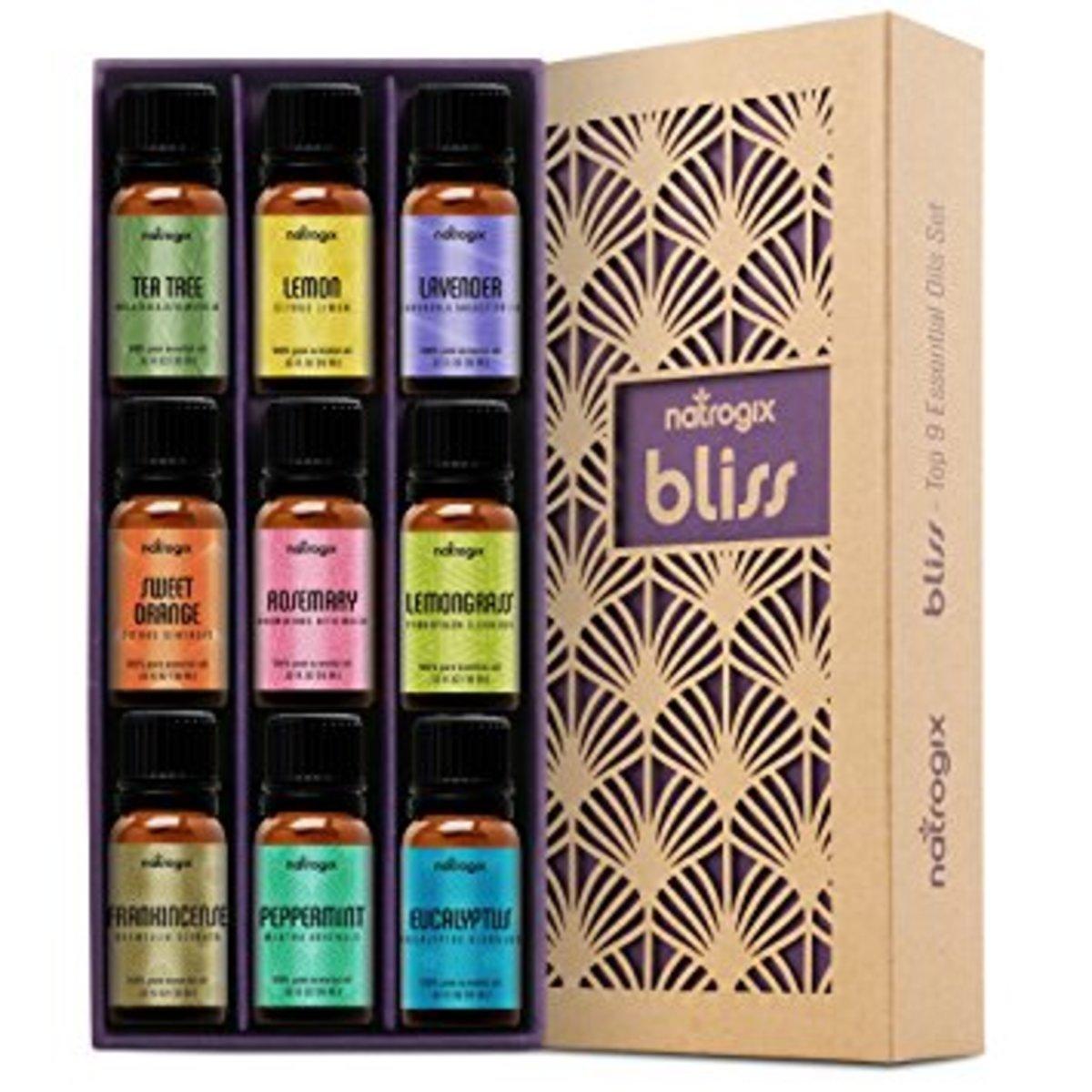 Natrogix Bliss—Top 9 Therapeutic Grade 100% Pure Essential Oil Set