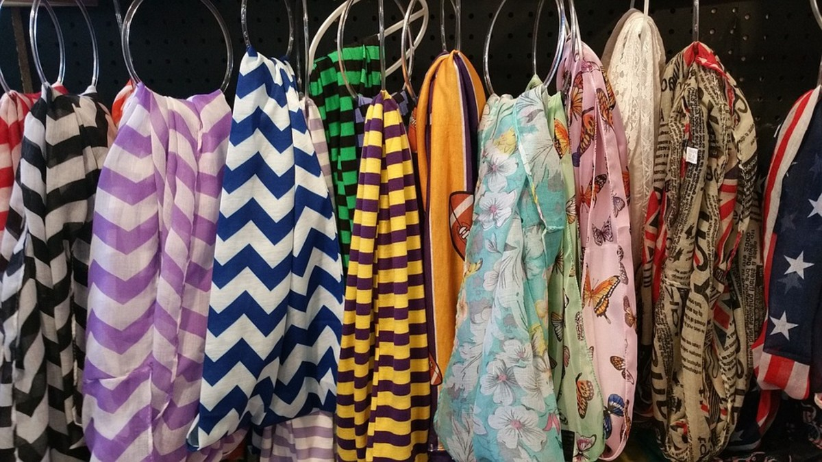Scarves were a BIG Part of 1970s fashion. Popular scarf designs included bold, bright colors and patterns, paisley prints, chevron stripes, sequined designs, and patterns inspired by psychedelic art and nature.