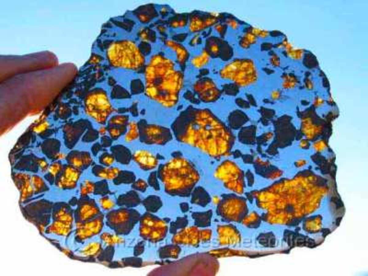 A slice of pallasite meteorite