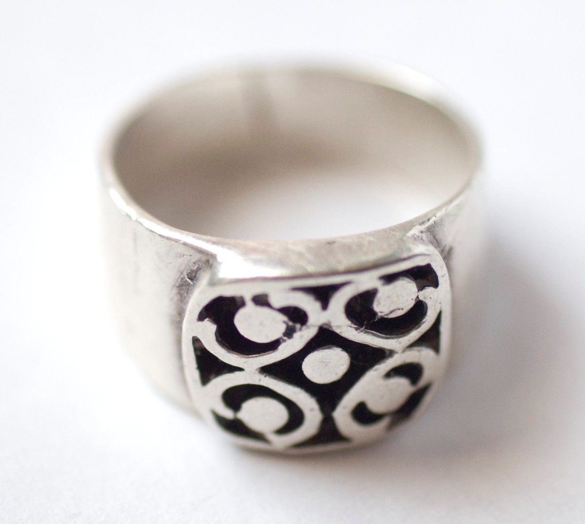 Old cast silver ring