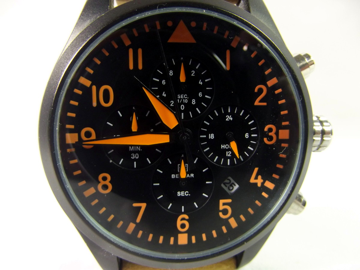 Benyar BY-5103M Chronograph.  This timepiece is well featured but second hand is difficult to pick out
