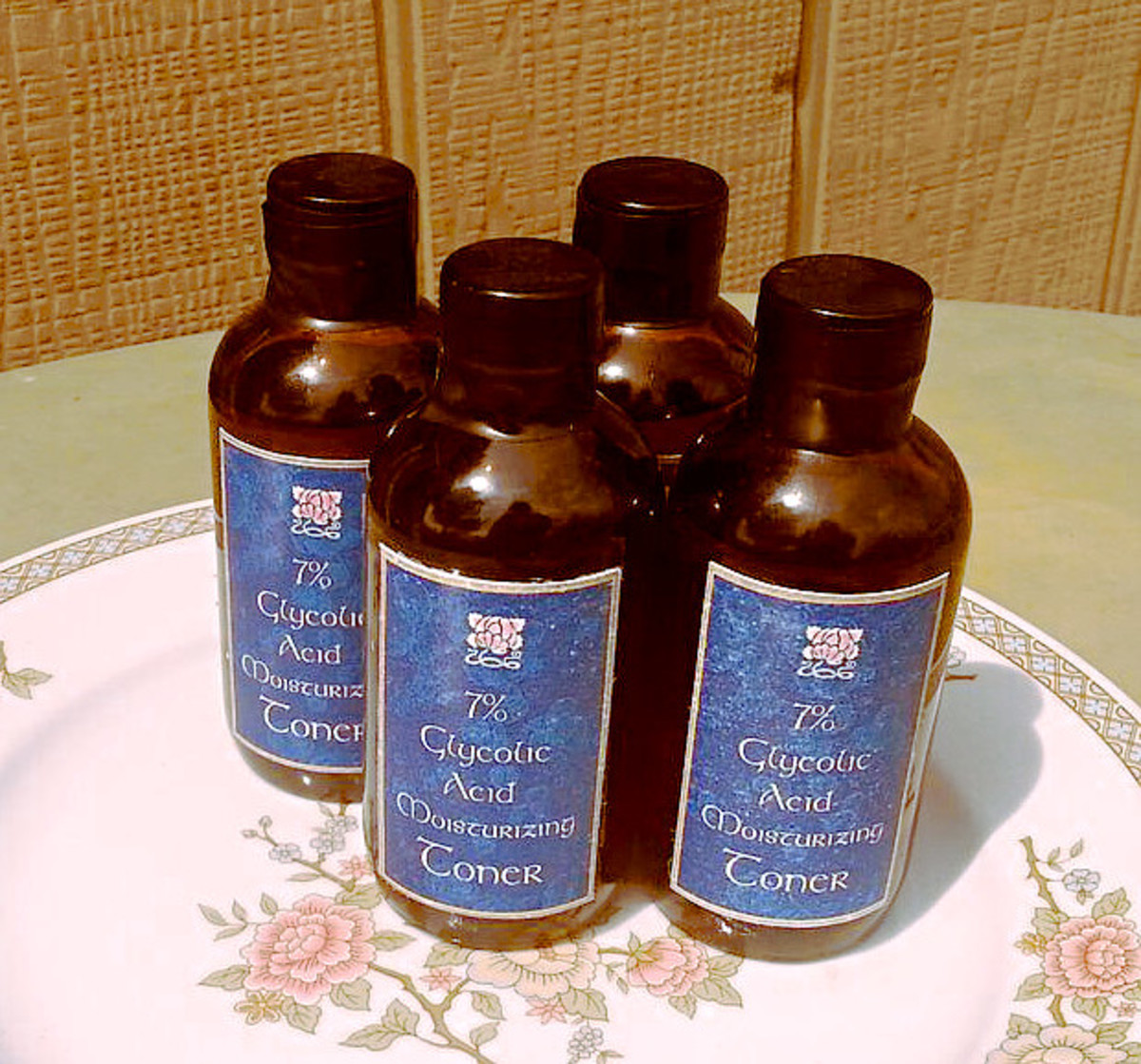 Bottled and labeled glycolic acid toner