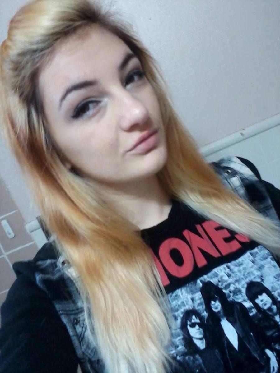Yellow hair, post-bleach.