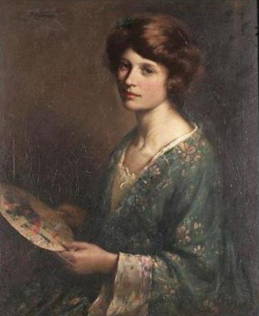 1872 Painting Blue Kimono by William Kay Blacklock
