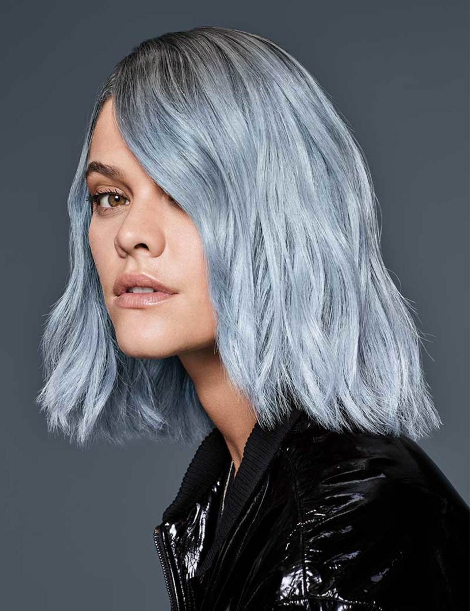 Ice pastel blue with a shadow root