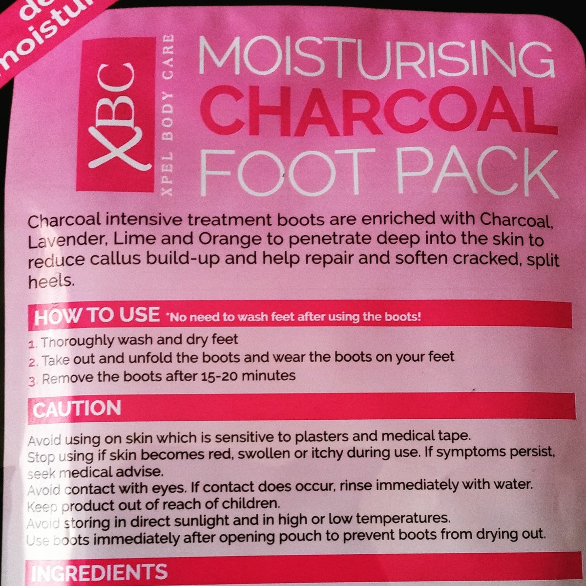 The instructions, showing how to use the Xpel Body care: XBC Moisturising Charcoal Foot Pack.