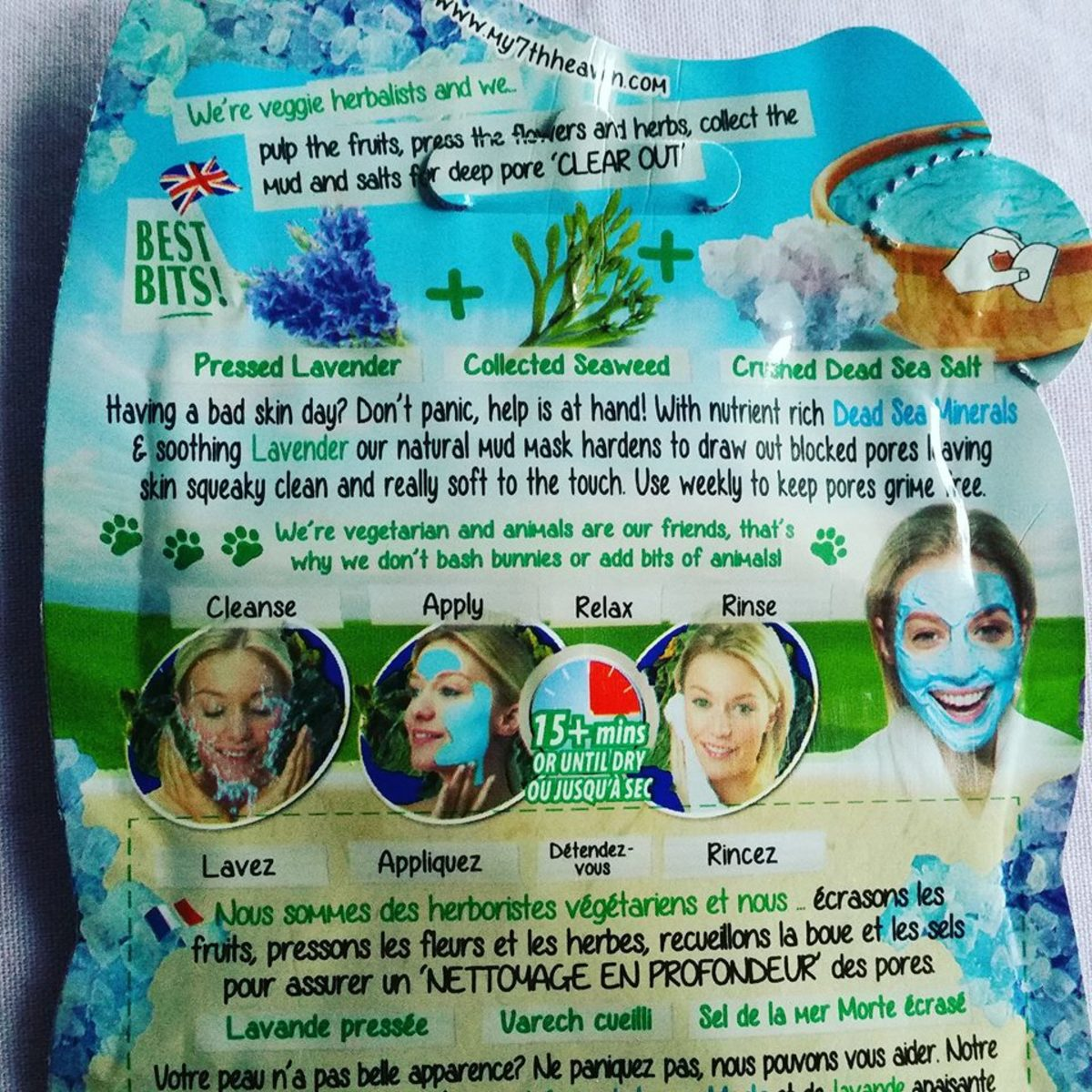 The instructions on the reverse of the 7th Heaven Dead Sea Mud Face Mask packaging.