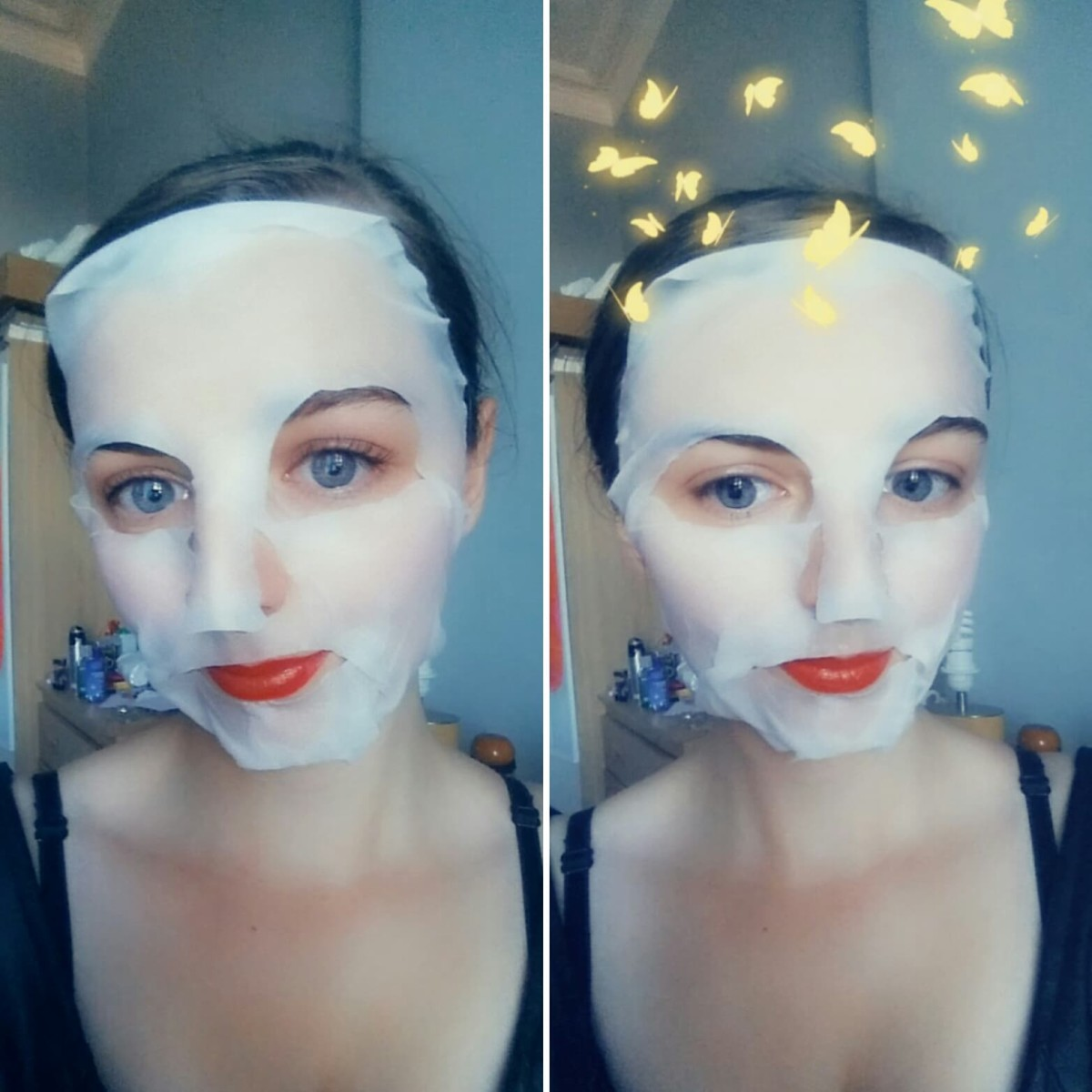The 7th Heaven Tea Tree Sheet Face Mask in use on my face.