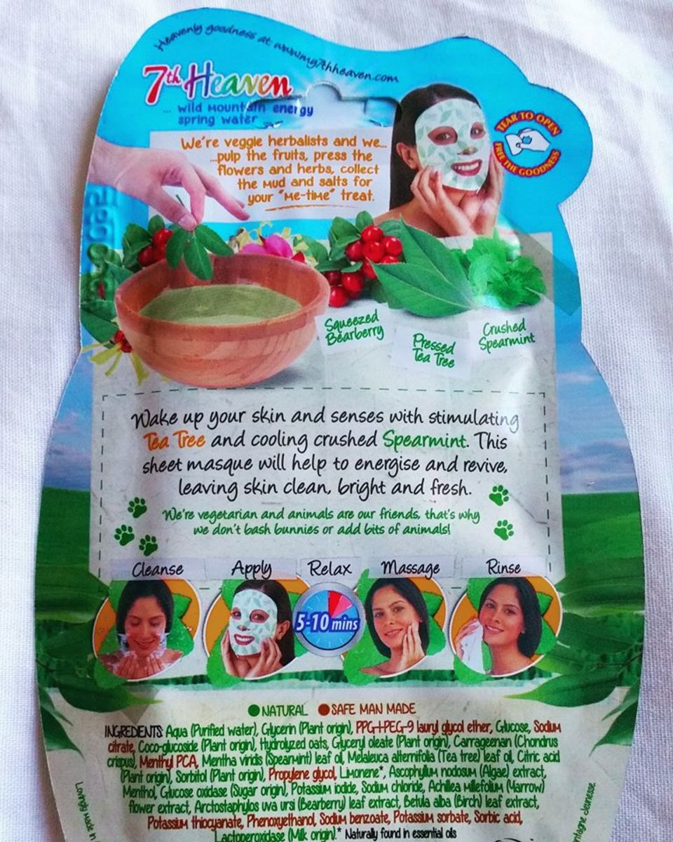 The instructions on the reverse of the 7th Heaven Tea Tree Sheet Face Mask.