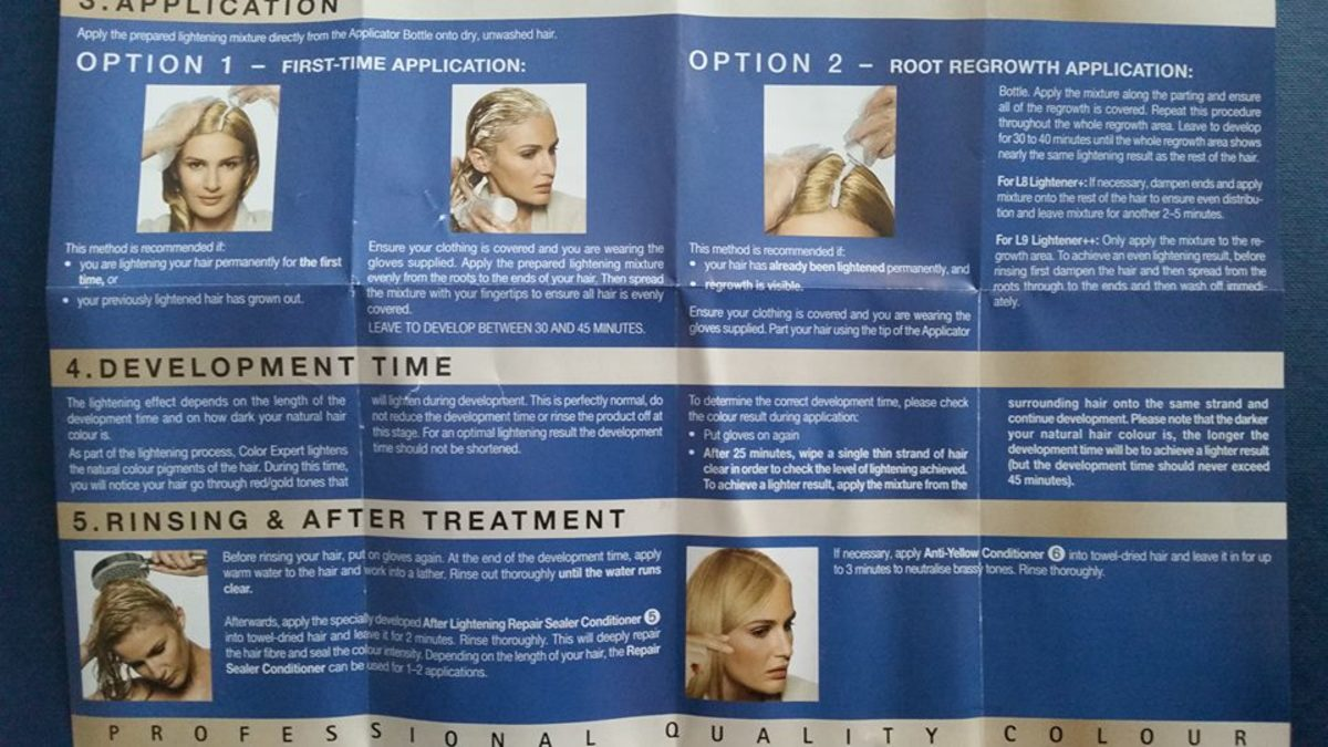 The instructions that came with the Schwarzkopf Hair Color Expert Omegaplex Dye, Lightener L9 Plus
