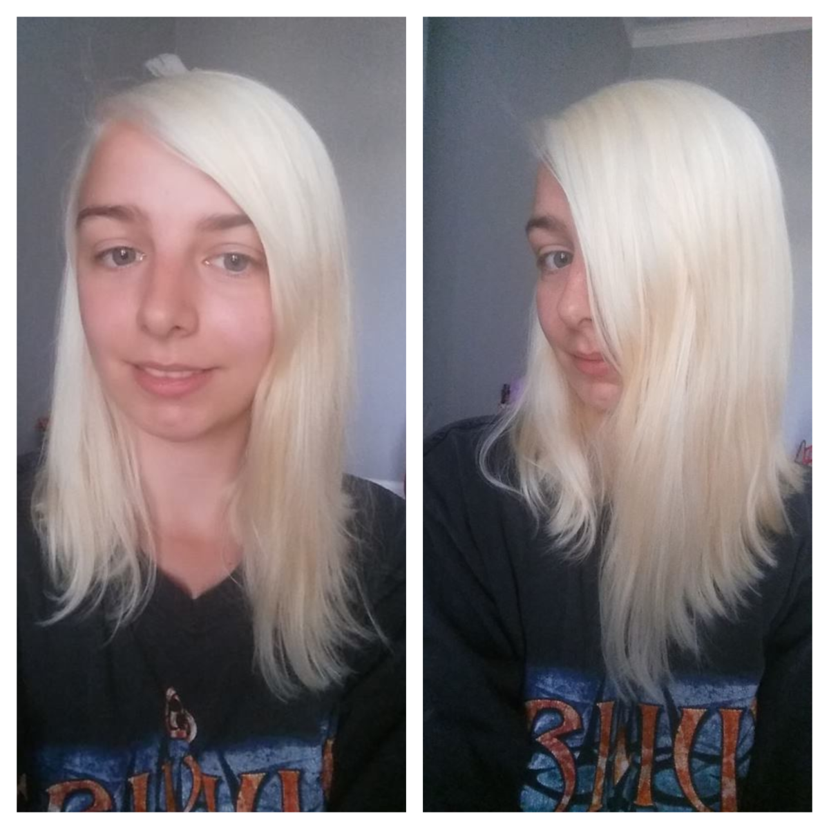 My hair after the second bleaching session with Schwarzkopf Hair Color Expert Omegaplex Dye, Lightener L9 Plus