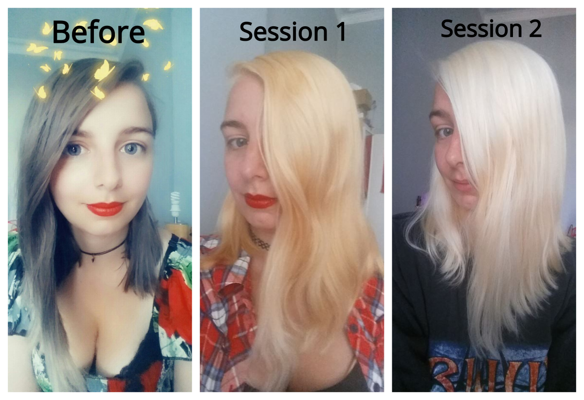 A before, during and after comparison while using Schwarzkopf Hair Color Expert Omegaplex Dye, Lightener L9 Plus