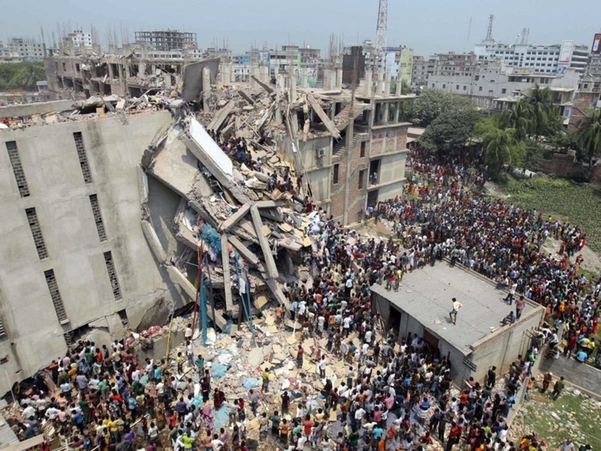 One of the many pictures of the factory collapse in Bangladesh. While one of the most devastating factory collapses in the history of fashion, not much has been done to improve workers' rights