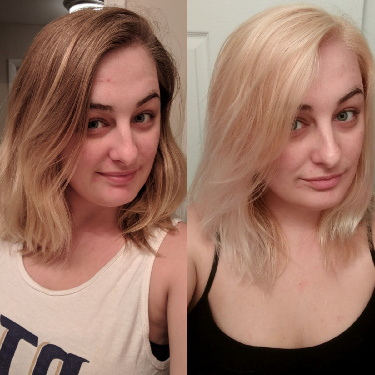 Here's my results using Ion Color Brilliance Bright White Creme Lightener on my natural hair.