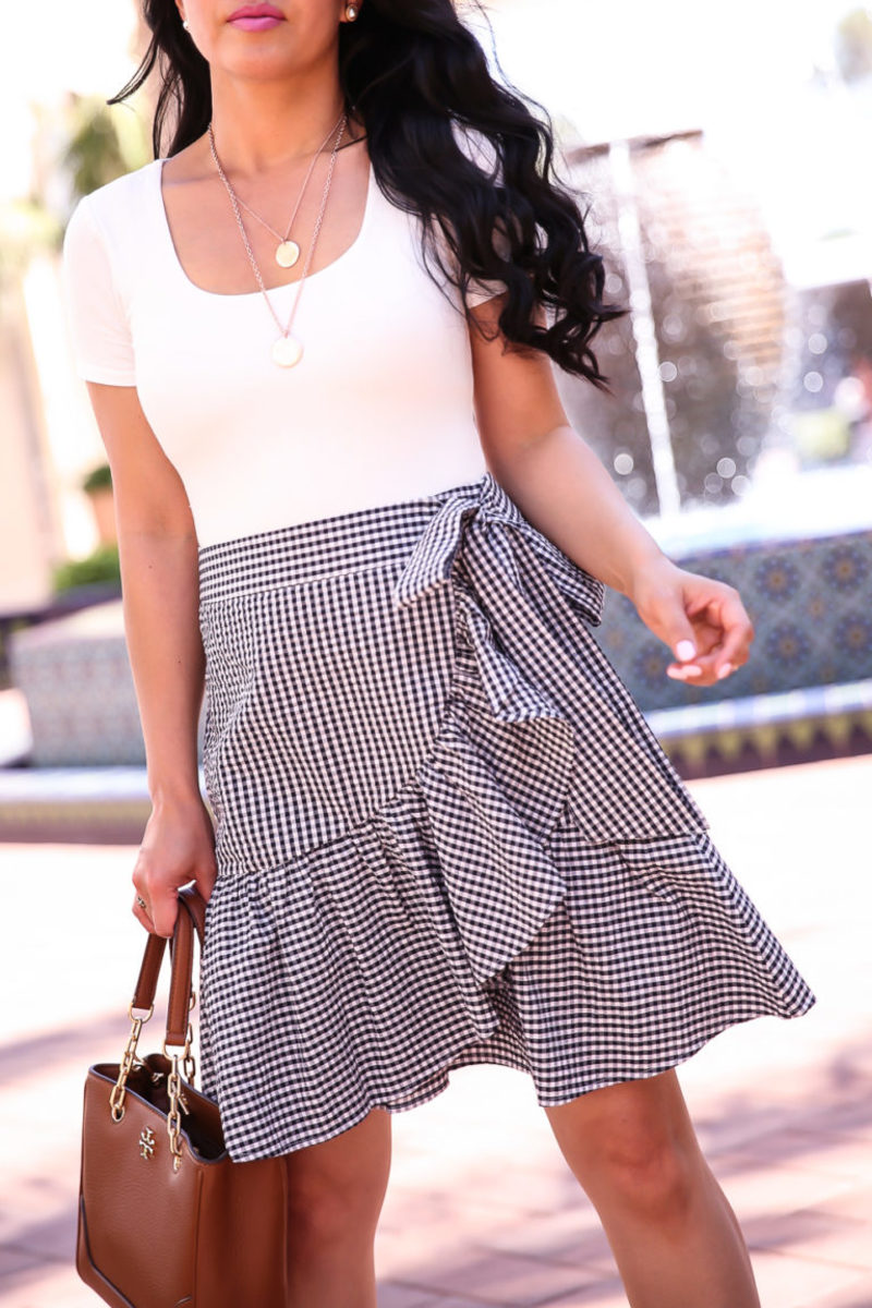 Bodysuit paired with a loose skirt.