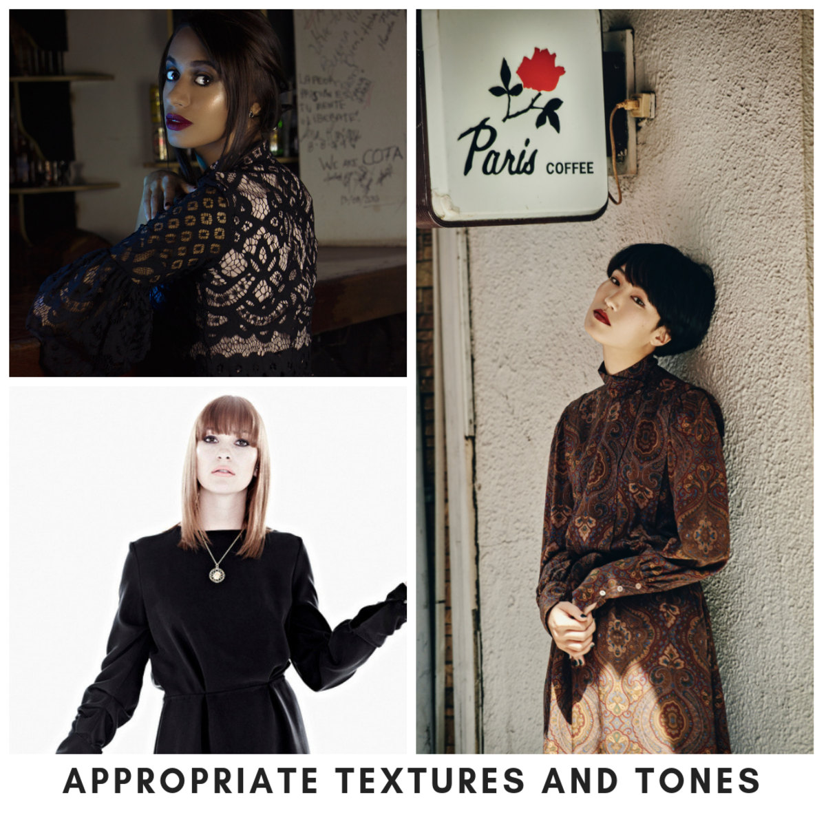 You can make texture, patterns, and lace work, just do so tastefully.