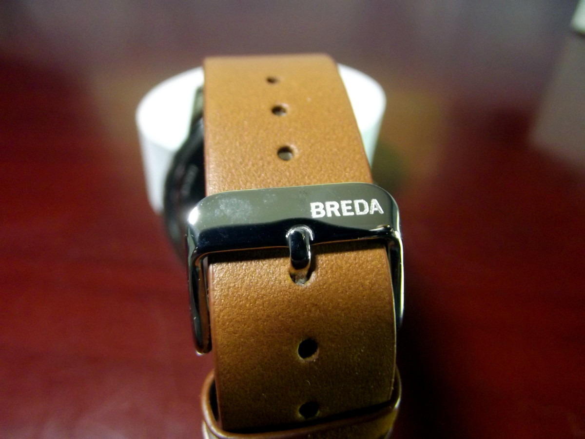 Leather strap attached to Breda 8184B Quartz Watch