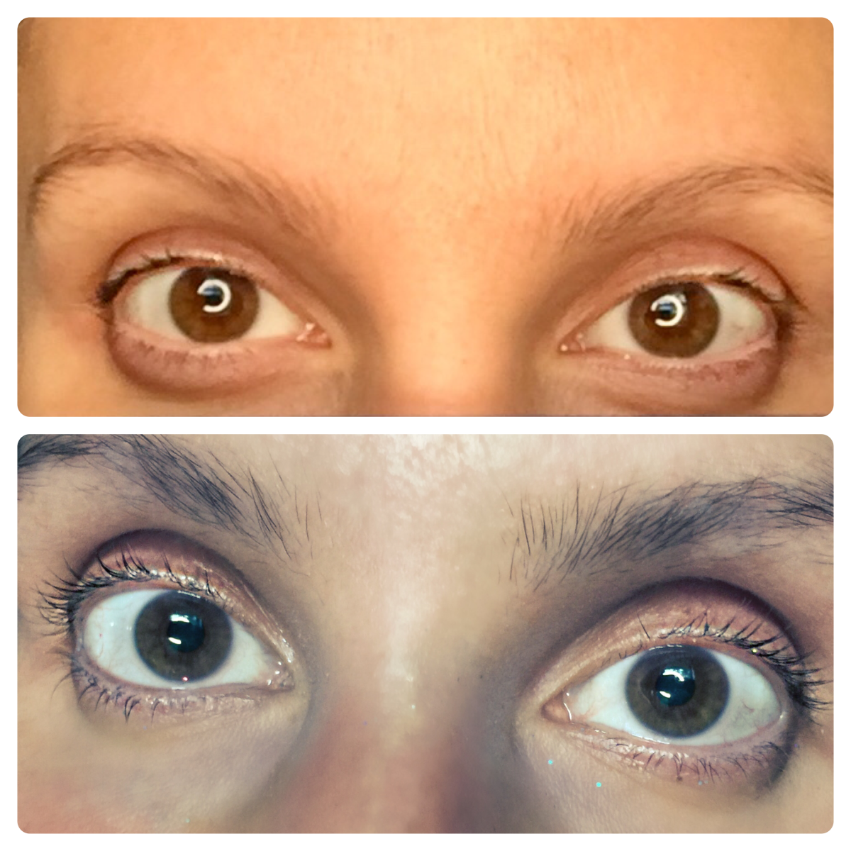 Top picture is before and bottom is after about 5 weeks. I am also using their other product, Rapidlash. As you can see it works too (I wrote a separate review for that.)