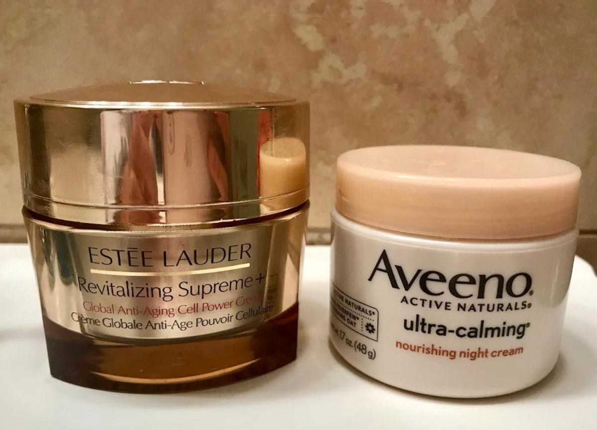 I love my Estee Lauder creams but look at the difference in the size of the jar. They are both 1.7oz! EL has gorgeous packaging but comparing it to the Aveeno, it seems so wasteful and takes up more space. I love the simplicity of the Aveeno jar.