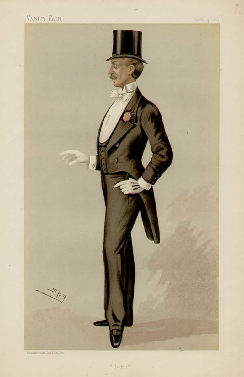Dress coat with tails circa 1885. Note abrupt change in length front to back. He is also wearing a top hat.