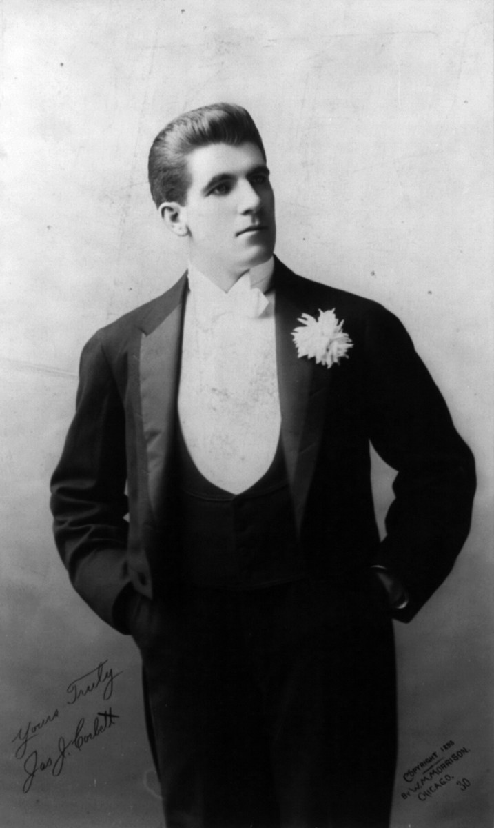 "1893 James Corbett, boxer ""Gentleman Jim Corbett"" in a tuxedo with satin lapels and a waistcoat with a low opening"