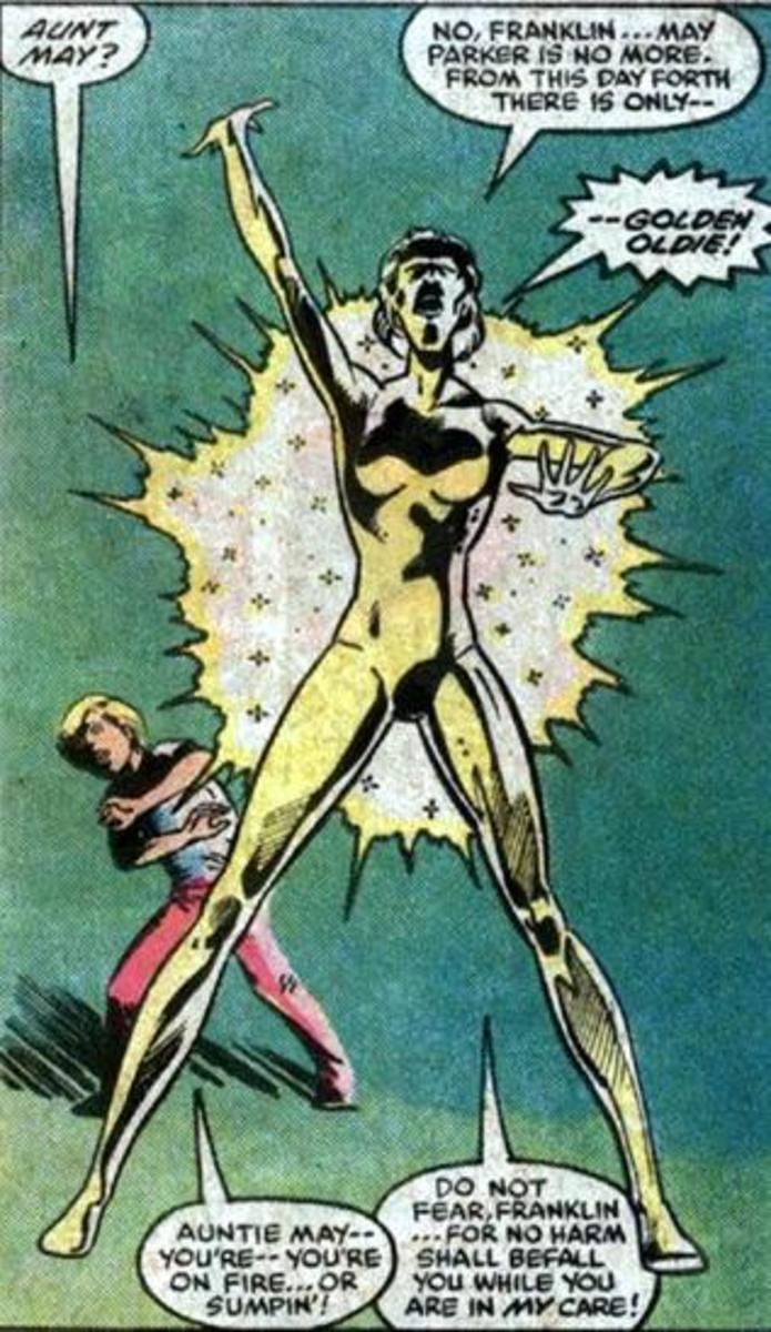 Aunt May receives the Power Cosmic... and Marvel continuity freaks break out in cold sweats of rage.