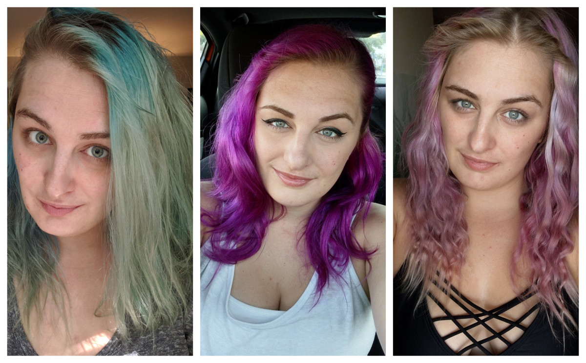 Here, you'll see what my hair looked like (left) before I dyed it, (middle) right after I dyed it, and (right) what it faded to after 7 weeks.