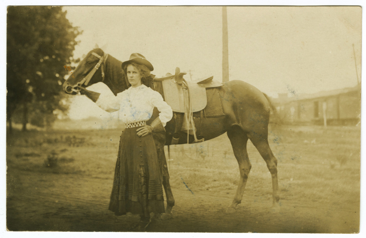If you look closely you'll see that the horse is wearing a sidesaddle