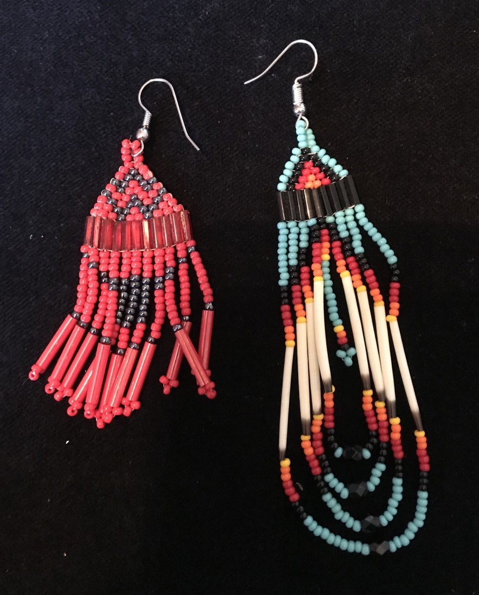 The left earring is the import, the right is Native American with quill beads