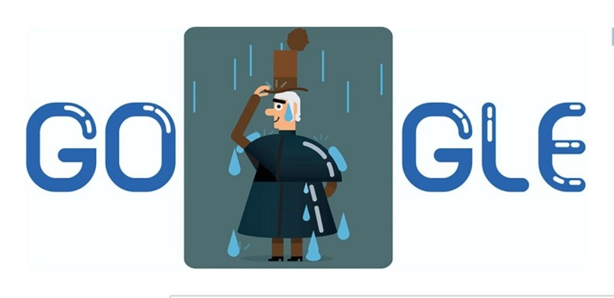 The Google Doodle for 29 December 2016 celebrates Macintosh's 250th birthday. It shows him enjoying a Scottish rain shower whilst testing his invention.