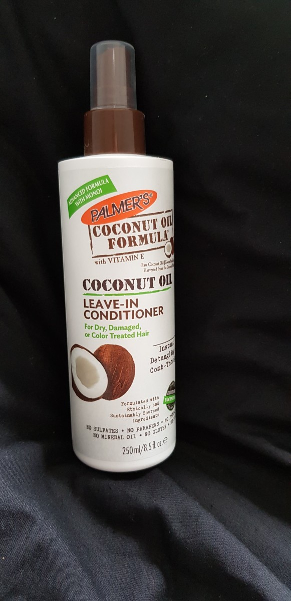 The outside packaging of the Palmer's Coconut Oil Leave-In Conditioner that I have been using for over a year