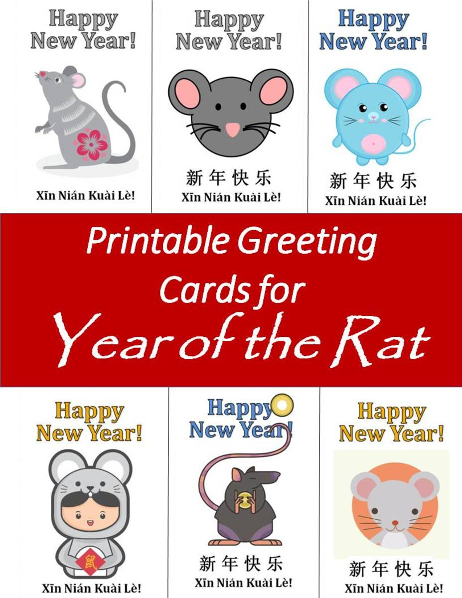Printable Greeting Cards for Year of the Rat
