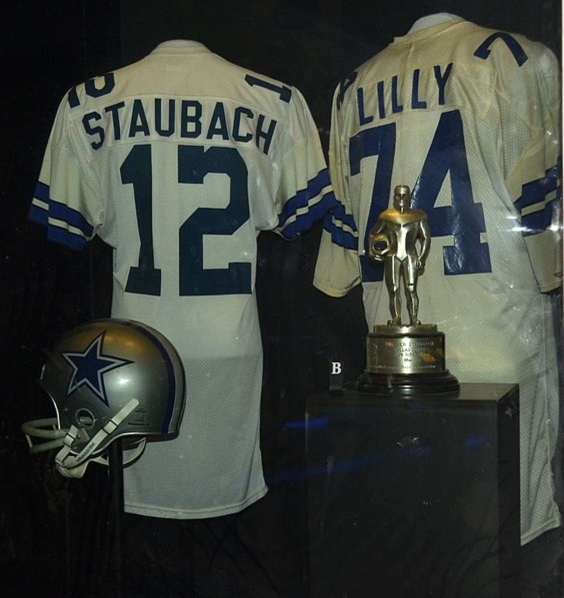 Jerseys of Cowboys Roger Staubach and Bob Lilly at the NFL Hall of Fame
