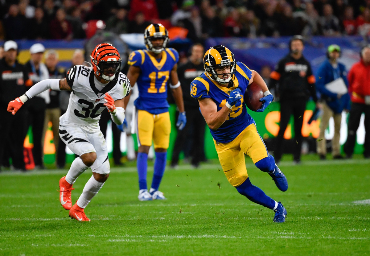 Los Angeles Rams wide receiver, Cooper Kupp, runs upfield during the second quarter of a 2019 game against the Cincinnati Bengals during the NFL International Series at Wembley Stadium in London.