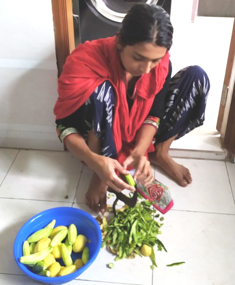 Shaila Cutting Vegetables with a Boti