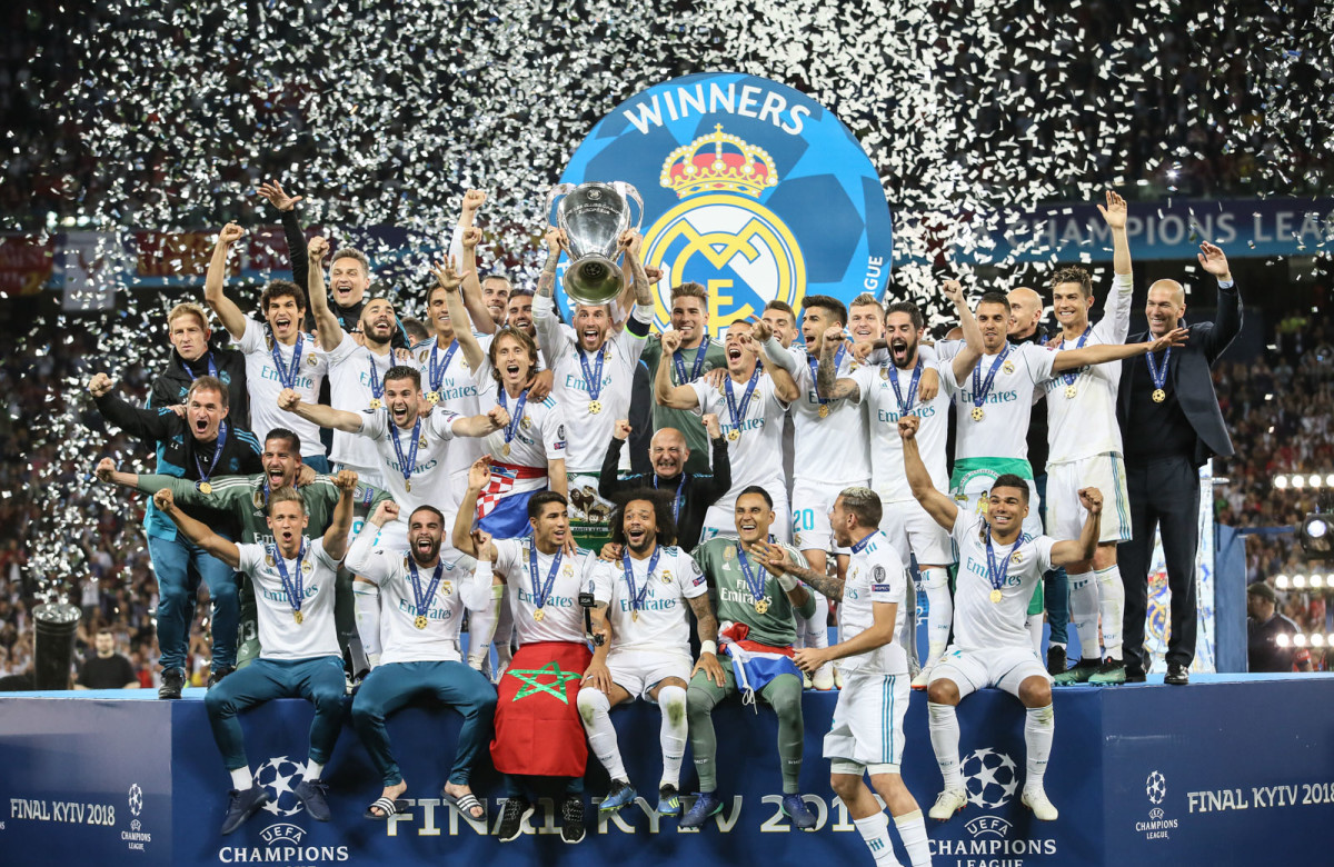 Sergio Ramos and co. lifting their third consecutive Champions League.