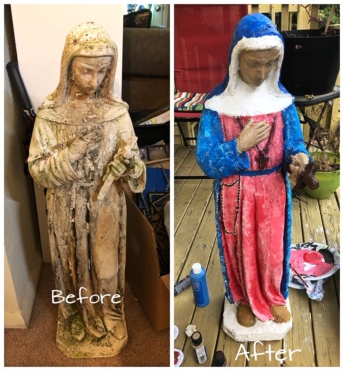 The before and after photos of a statue restoration.
