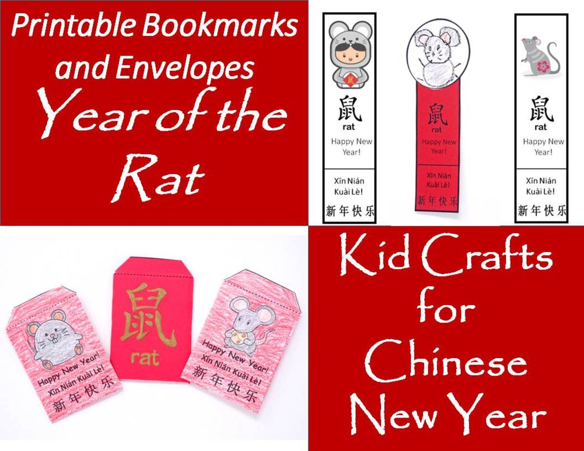 Printable Envelopes and Bookmarks for Year of the Rat: Kids' Crafts for Chinese New Year