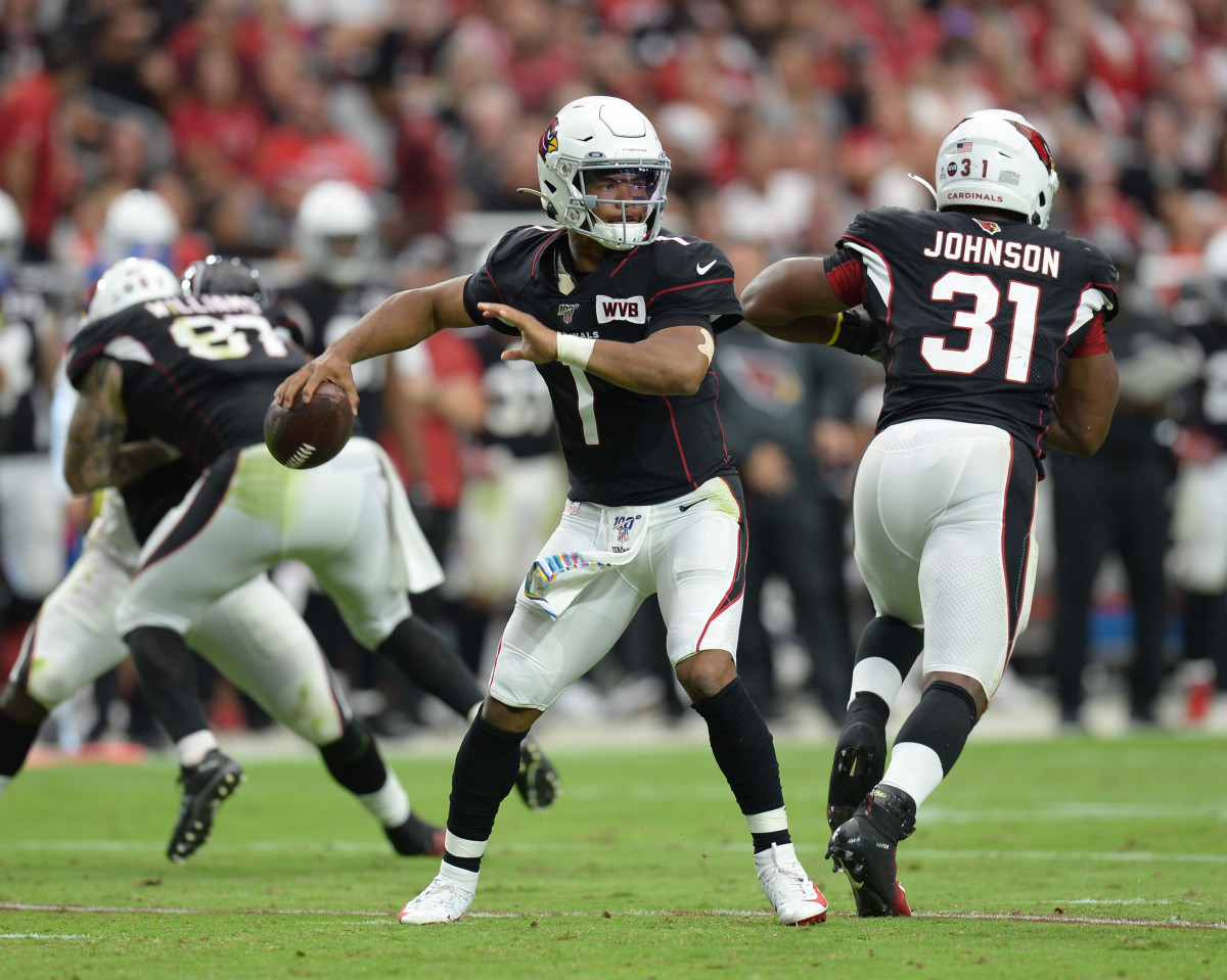 Arizona Cardinals quarterback, Kyler Murray, throws a pass against the Atlanta Falcons during the second half of a 2019 game at State Farm Stadium.
