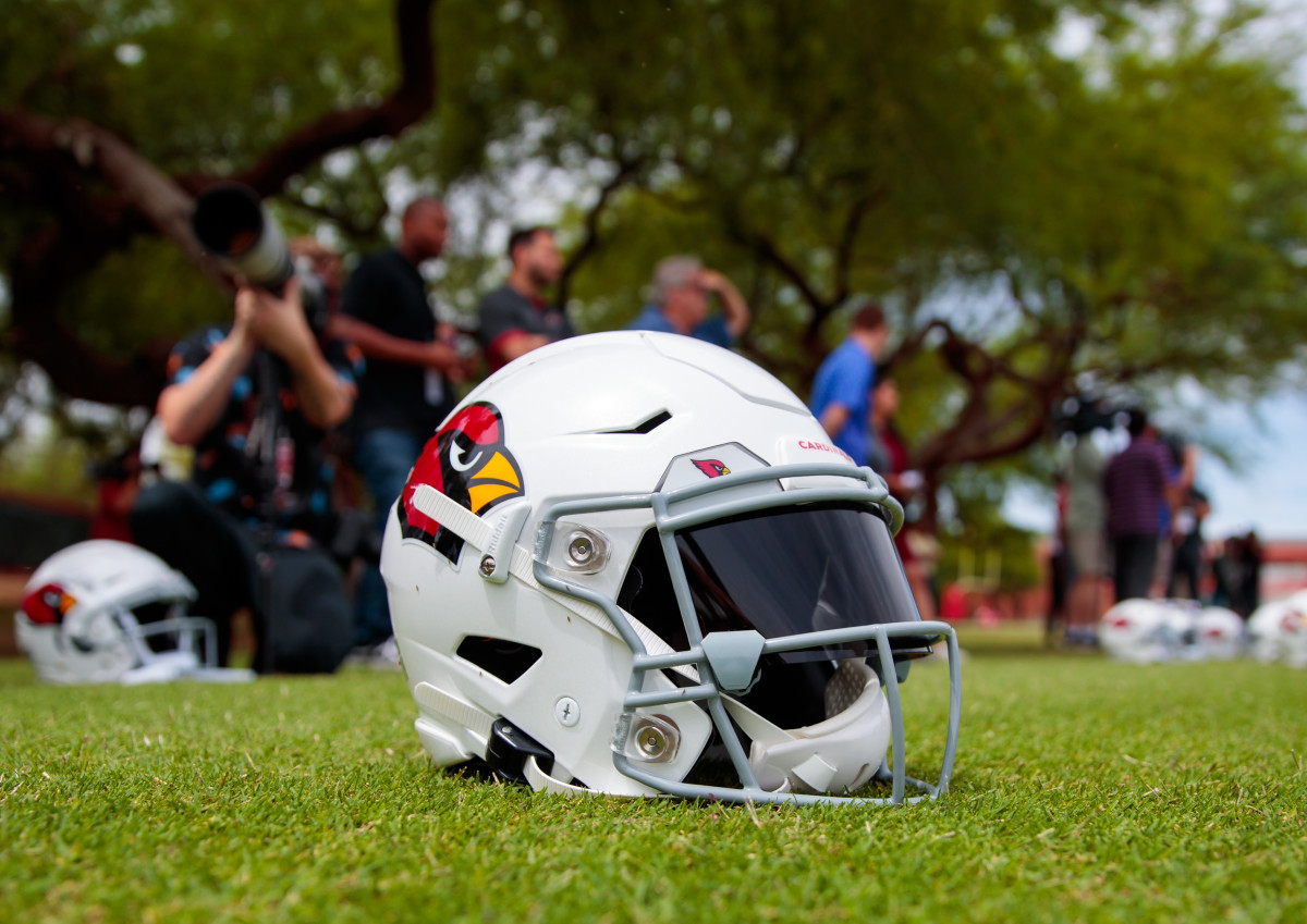 The helmet of Arizona Cardinals quarterback, Kyler Murray, is pictured during 2019 training camp. Murray is hoping to become the next great quarterback to wear the red and white helmet of the Cardinals.