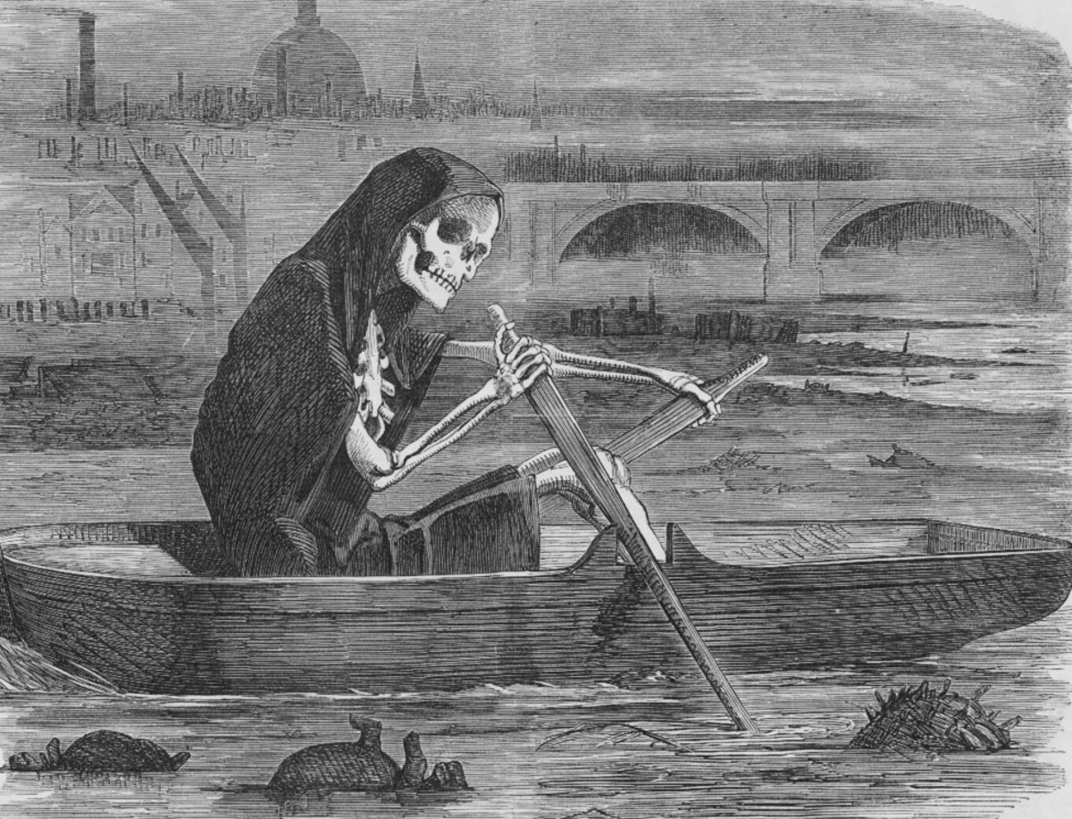 Death rows his boat through the fetid waters of the Thames.