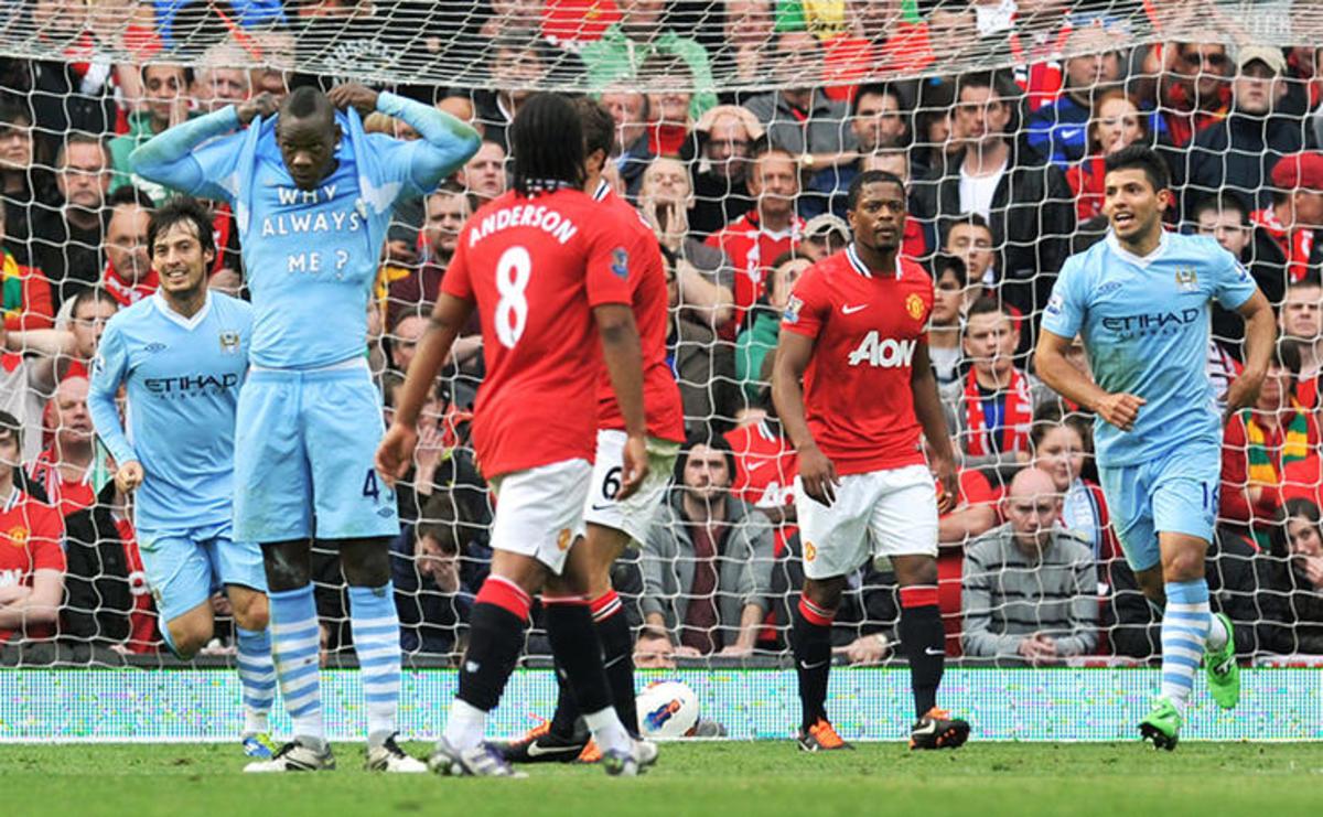 Mario Balotelli's infamous celebration against United.