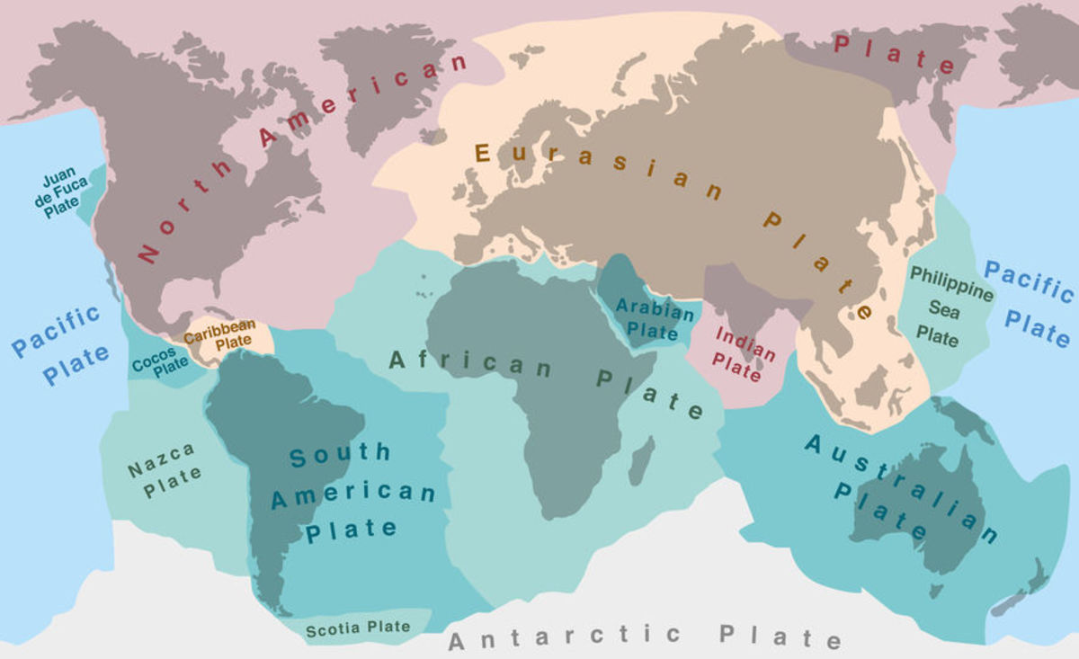 The major and minor tectonic plates in their present-day configuration.
