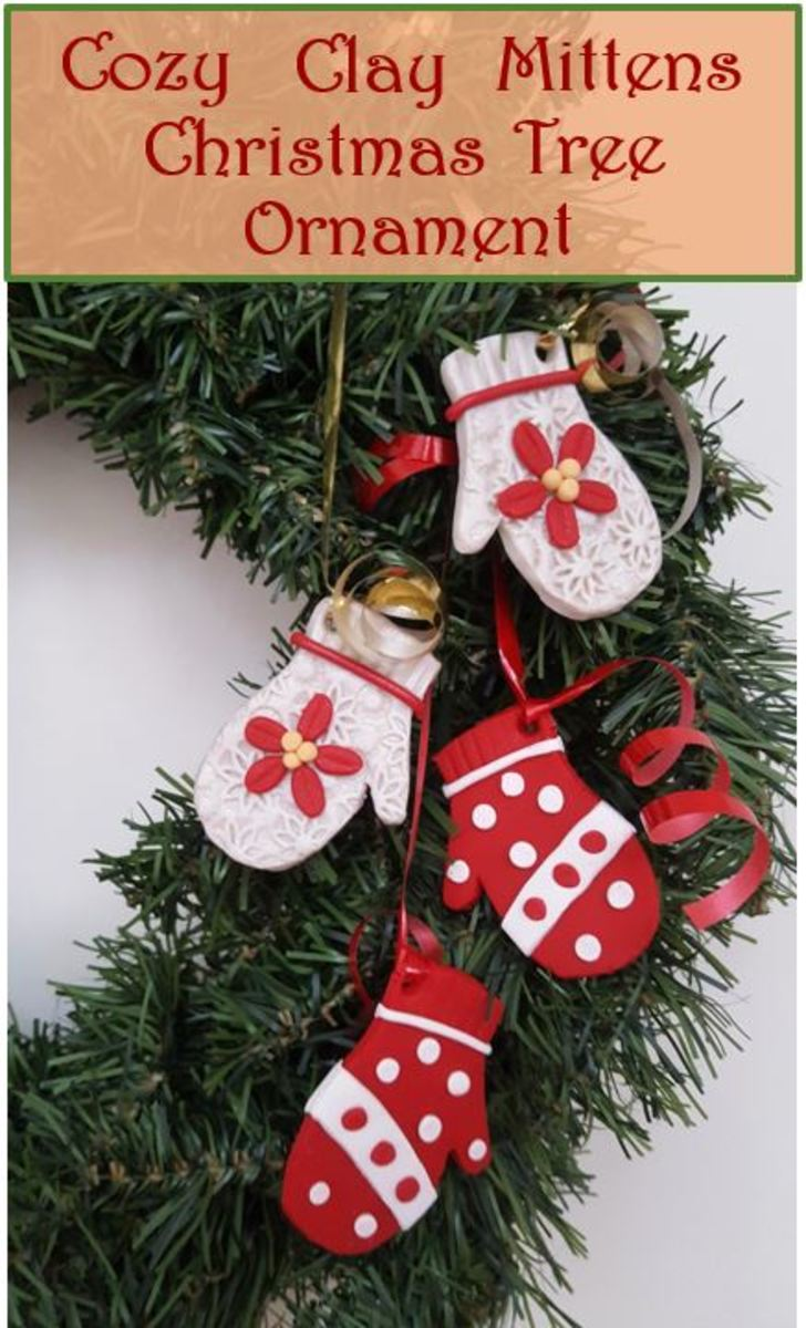 Cozy Clay Mittens Christmas Tree Ornament