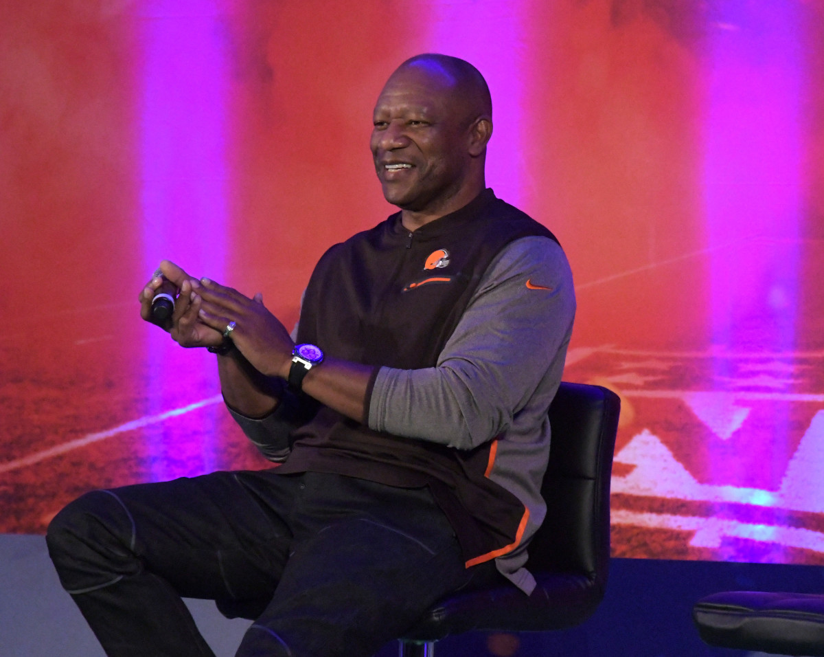 Former Cleveland Browns cornerback, Hanford Dixon, speaks at NFL UK Live at the Landmark Hotel in London in 2017.